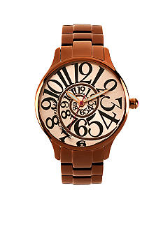 Betsey Johnson Brown Stainless Steel Case with Optical Dial