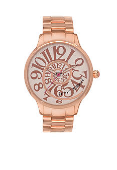 Betsey Johnson Watch with Rose Gold Finish Case and Optical Dial
