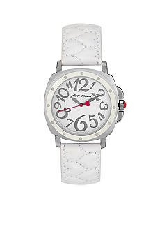 Betsey Johnson Silver Case with White Quilted Heart Strap Watch