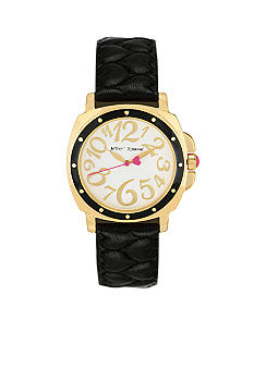 Betsey Johnson Gold Case with Black Quilted Heart Strap Watch