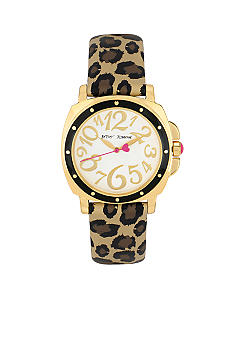 Betsey Johnson Gold Tone Cushion Case with Leopard Strap