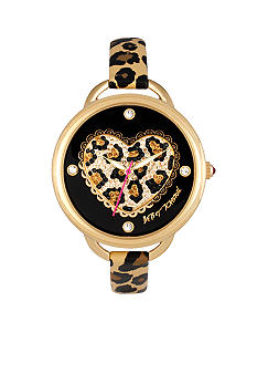 Betsey Johnson Leopard Heart and Strap Watch