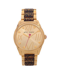 Betsey Johnson Watch with Gold Finish Case and Leopard Bracelet