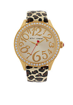 Betsey Johnson Gold Tone Case with Leopard Printed Leather Strap Watch