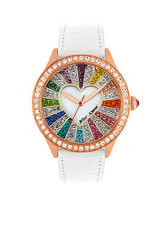 Betsey Johnson Multi-Colored Crystal Set Dial Watch