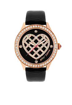 Betsey Johnson Rose Gold Tone Case & Crystal Quilted Heart Dial