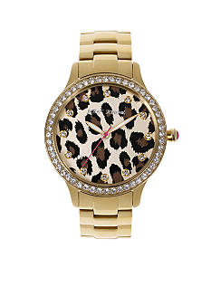 Betsey Johnson Gold Tone Case with Leopard Pattern Dial Watch