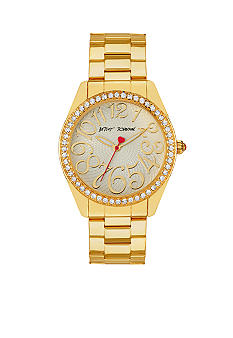 Betsey Johnson Gold Tone Case Set in Crystal with Light Champagne Dial Watch