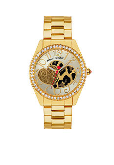 Betsey Johnson Leopard Heart Graphic Dial Watch
