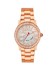 Betsey Johnson Rose Gold Tone Case Set in Crystal Watch
