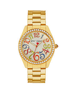Betsey Johnson Multi-Colored Numeral Dial Gold Tone Watch