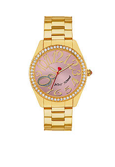 Betsey Johnson Gold Tone Case with Pink Dial Watch