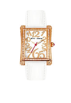 Betsey Johnson Rose Gold Tone Stainless Steel Rectangle Case Set in Crystal