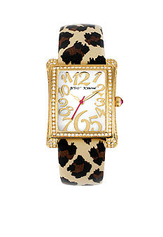 Betsey Johnson Stainless Steel Rectangle Case Set in Crystal & Leopard Printed Patent Leather Strap