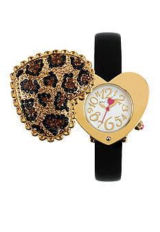 Betsey Johnson Leopard Pave Heart Cover Watch