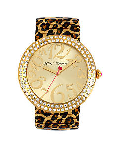 Betsey Johnson Jumbo Leopard Expansion Band Watch