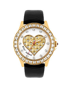 Betsey Johnson Gold Tone Stainless Steel Case with 3D Quilted Puffy Heart Dial