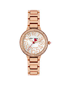 Betsey Johnson Rose Gold Tone Case Set in Crystal & Bracelet Watch