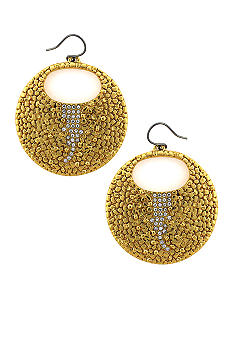 Vince Camuto Gold Metal and Leather Earrings