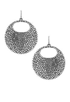 Vince Camuto Silver Metal and Leather Earrings