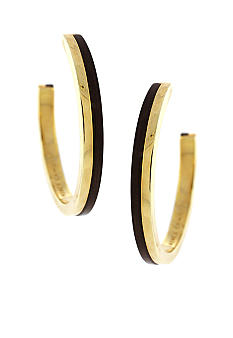 Vince Camuto Neutral Territory Gold and Wood Hoop