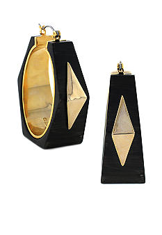 Vince Camuto Neutral Territory Wood and Gold Geometric Hoop
