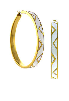 Vince Camuto Enamel Chevron Hoop Earrings