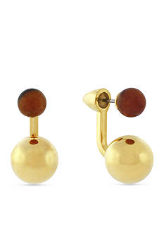 Vince Camuto Gold-Tone Tiger's Eye Front-and-Back Earrings