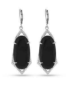 Vince Camuto Jet Crackle Stone Leverback Earrings