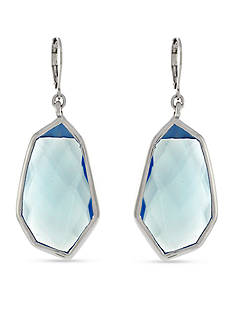 Vince Camuto Silver-Tone Colored Stone Drop Earrings