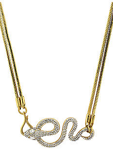 Vince Camuto Gold Metal and Leather Necklace
