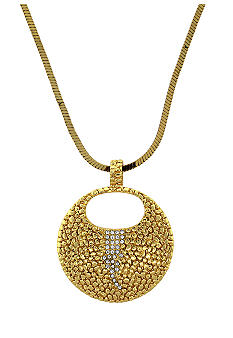 Vince Camuto Gold Metal and Leather Pendant