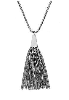 Vince Camuto Silver Metal and Leather Necklace