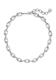 Vince Camuto Silver-Tone Geo Links Collar Necklace