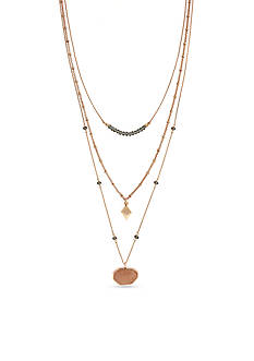 Vince Camuto Rose Gold-Tone Colored Stone Multistrand Necklace