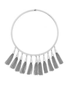 Vince Camuto Silver Chained Tassel Collar Necklace