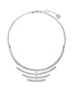 Vince Camuto Silver-Tone Simple Status Drama Pave Collar Necklace