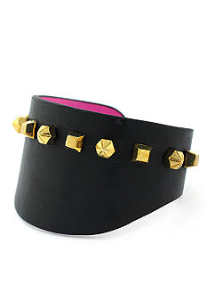 Vince Camuto Gold Metal and Leather Cuff