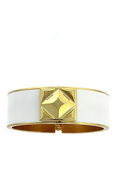 Vince Camuto White and Gold Hinge Bracelet