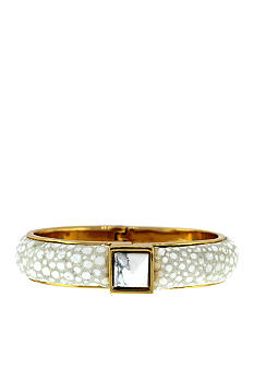 Vince Camuto White Egret and Gold Hinge Bracelet