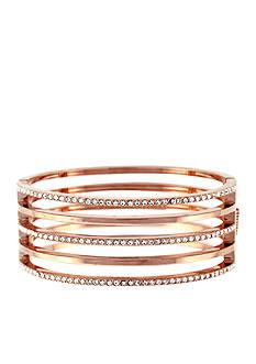 Vince Camuto Rose Gold-Tone Crystal Line Hinge Bracelet