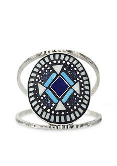 Vince Camuto Silver-Tone Indigo Blues Mosaic Stone Cuff Bracelet