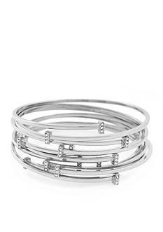 Vince Camuto Silver-Tone Delicate Lines Pave Bar Bangle Bracelet Set