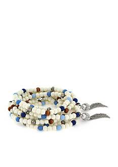 Vince Camuto Silver-Tone Indigo Blues Beaded Fringe Bracelets