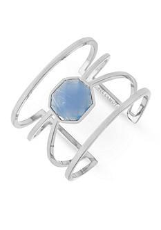 Vince Camuto Silver-Tone Colored Stone Geo Cuff Bracelet