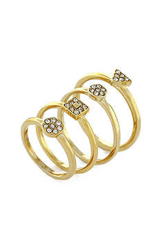 Vince Camuto Gold-Tone Geo Pave Stacked Ring Set