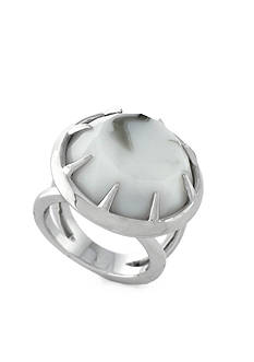 Vince Camuto Languid Looks Silver-Tone Round Stone Ring