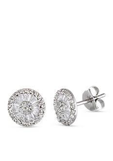 Belk Silverworks Sterling Silver White Cubic Zirconia Circle Post Earring