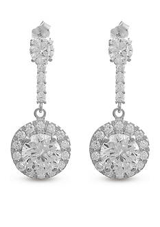 Belk Silverworks Sterling Silver White Cubic Zirconia Round Drop Earring