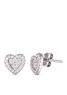 Belk Silverworks Sterling Silver White Cubic Zirconia Heart Stud Earrings
